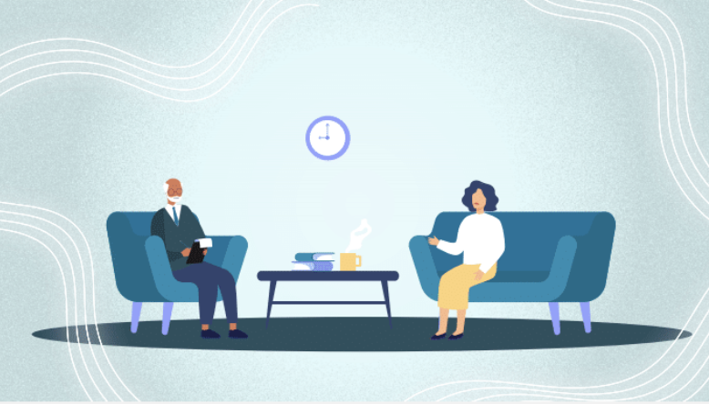 An illustrated therapist sitting in a chair taking notes as an illustrated woman sits on a couch talking