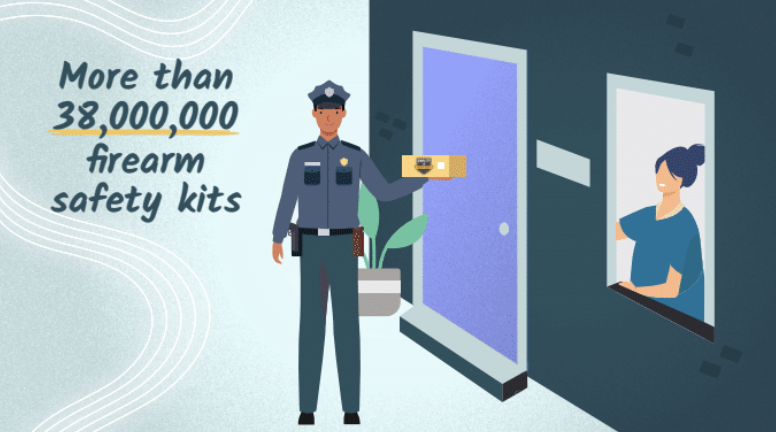 An illustrated police officer delivers a firearm safety kit to the front door of a woman's home