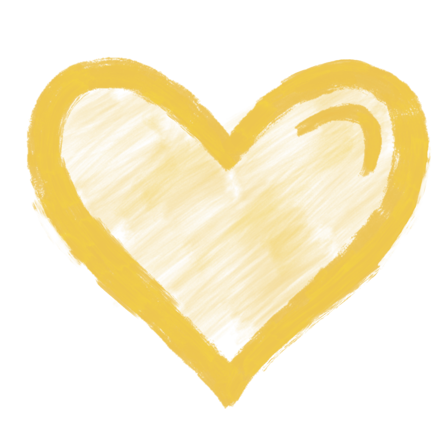 Yellow icon of a heart